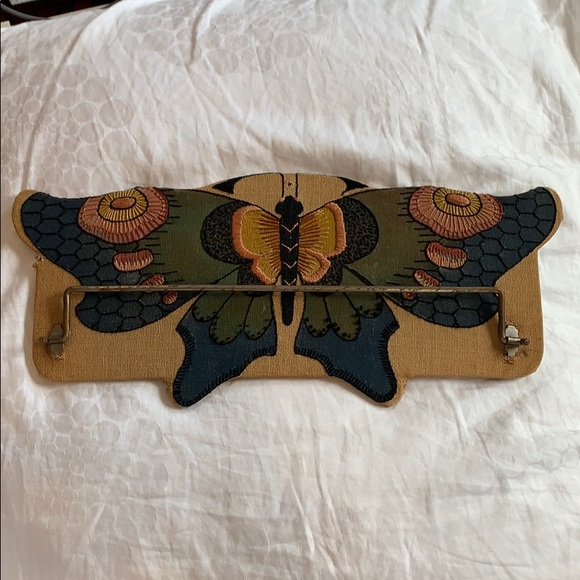 Vintage embroidery butterfly towel rack 16x7